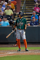 Greensboro Grasshoppers Ji-Hwan Bae (51) bats during a South Atlantic League game against the Delmarva Shorebirds on August 21, 2019 at Arthur W. Perdue Stadium in Salisbury, Maryland.  Delmarva defeated Greensboro 1-0.  (Mike Janes/Four Seam Images)
