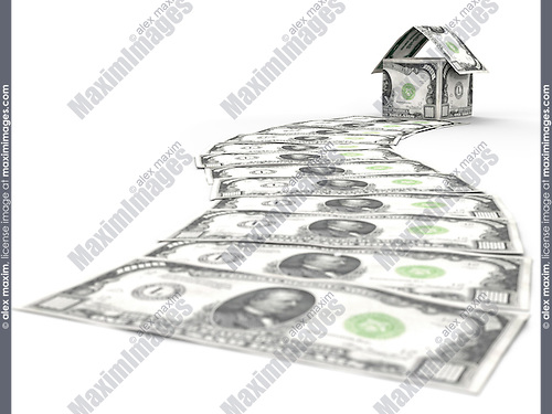 Money path leading to a house made of thousand dollar bills isolated on white background. Business career, investment, mortgage and housing concept.