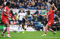 Preston North End's Daniel Johnson shoots despite the attentions of Barnsley's Cameron McGeehan<br /> <br /> Photographer Kevin Barnes/CameraSport<br /> <br /> The EFL Sky Bet Championship - Preston North End v Barnsley - Saturday 5th October 2019 - Deepdale Stadium - Preston<br /> <br /> World Copyright © 2019 CameraSport. All rights reserved. 43 Linden Ave. Countesthorpe. Leicester. England. LE8 5PG - Tel: +44 (0) 116 277 4147 - admin@camerasport.com - www.camerasport.com