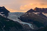 Serpentine glacier, Chugach mountain range, Chugach national forest, Prince William Sound, Alaska.