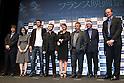 (L to R) Rebecca Zlotowski, Olivier Treiner, Jules Pelissier, Regine Hatchondo, Luc Besson, Jean-Paul Jaud, Jean-Pierre Ameris, June 23, 2011..French Film Festival 2011 was held at Yurakucho Asahi Hall in Tokyo, Japan.
