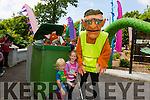 Tristan Hennessy visiting from Berlin and Amelia Stack From Listowel with Rory the Fox and Seamus the We Bug Park Wardens. from Buíbolg Productions at  the  Feile na mBlath Park Festival in Tralee Town Park  on Saturday