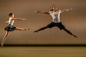 """London, UK. 23.03.2018. Richard Alston Dance Company presents the premiere of """"Mid Century Modern"""", at Sadler's Wells. Richard Alston choreographed his very first dance in 1968. 50 years later Mid Century Modern celebrates this landmark with new and old work from Alston, a celebration of a half century of making dances. The programme also features London premieres of Carnaval by Alston and Cut and Run by Martin Lawrance.<br />  <br /> For Mid Century Modern Alston has chosen featuring short sections from Rainbow Bandit, Nowhere Slowly, Gypsy Mixture, Proverb, Syrinx, Dutiful Ducks and Signal of a Shake. BBC Young Dancer 2015 finalist Vidya Patel (who joined the Company as a guest dancer for An Italian in Madrid in 2016) features in Syrinx to represent the current decade. RADC dancer Liam Riddick (Best Male Dancer Award, Critics Circle National Dance Awards 2017) will dance the solo Dutiful Ducks. Picture shows: Jennifer Hayes, Ihsaan de Banya in an extract from """"The Signal of a Shake"""".  Photograph © Jane Hobson."""