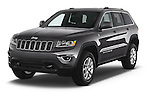 2015 Jeep Grand Cherokee Laredo 5 Door SUV angular front stock photos of front three quarter view