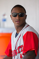 Ozzie Albies (2) of the Gwinnett Braves sits in the dugout during the game against the Charlotte Knights at BB&T BallPark on May 22, 2016 in Charlotte, North Carolina.  The Knights defeated the Braves 9-8 in 11 innings.  (Brian Westerholt/Four Seam Images)