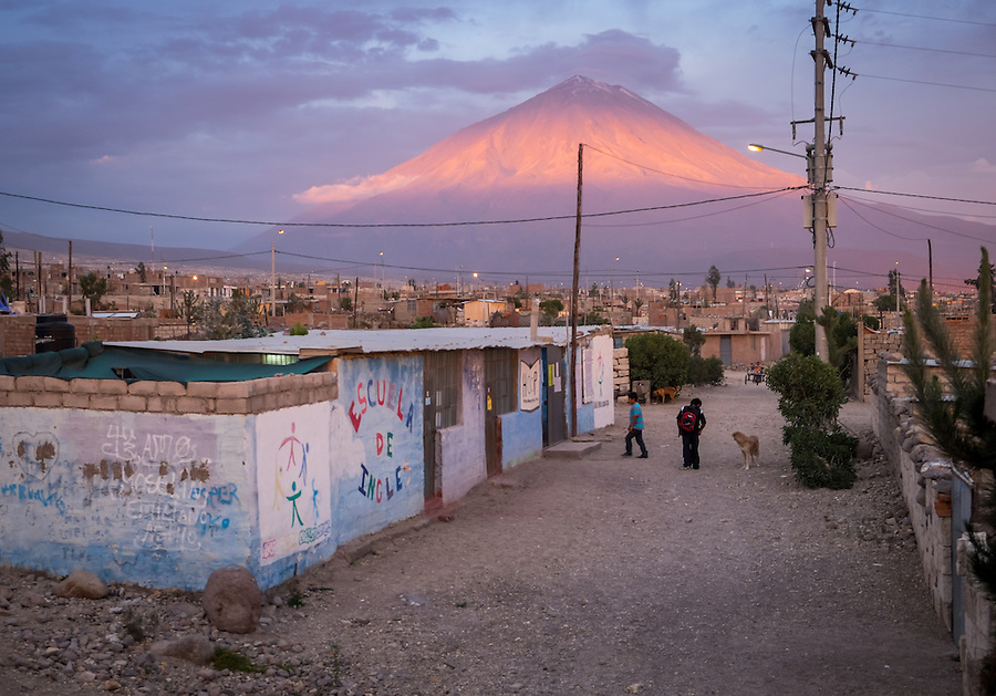 AREQUIPA, PERU - APRIL 7, 2014: View of the HOOP Peru school in the community of Flora Tristan. Hoop Peru is a NGO fully committed to breaking the cycle of poverty by empowering the Flora Tristan families through enhancing their education.