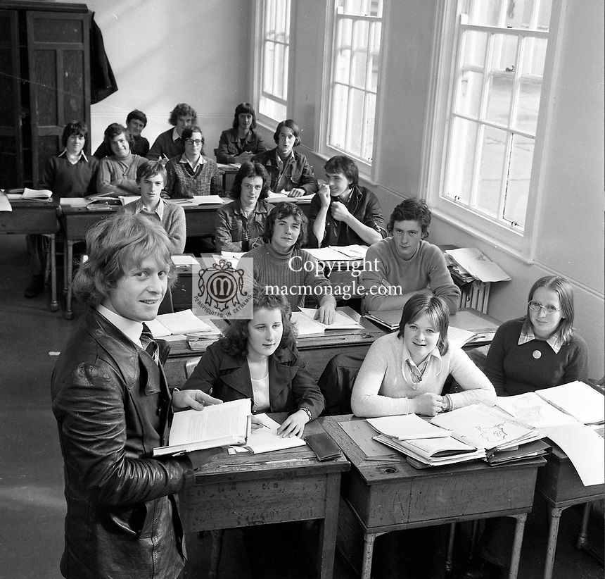 Kerry captain and school teacher Mickey Ned O'Sullivan with his class at Colaiste Iosagain in Ballyvourney ahead of the 1975 All-Ireland final against Dublin.<br />  &copy; Kevin Coleman 087 2579891