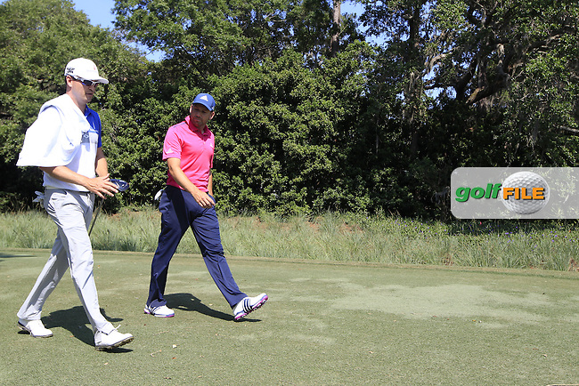 Zach Johnson (USA) and Sergio Garcia(ESP) having a look at the PXG driver during round 1of the Players, TPC Sawgrass, Championship Way, Ponte Vedra Beach, FL 32082, USA. 12/05/2016.<br /> Picture: Golffile | Fran Caffrey<br /> <br /> <br /> All photo usage must carry mandatory copyright credit (&copy; Golffile | Fran Caffrey)
