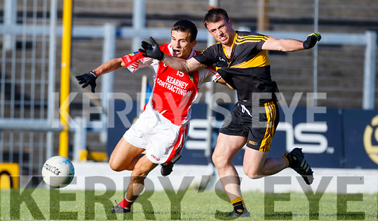 John Payne Dr Crokes in action against Seán Micheál Ó Conchúir West Kerry in the Kerry Senior Football Championship Semi Final at Fitzgerald Stadium on Saturday.