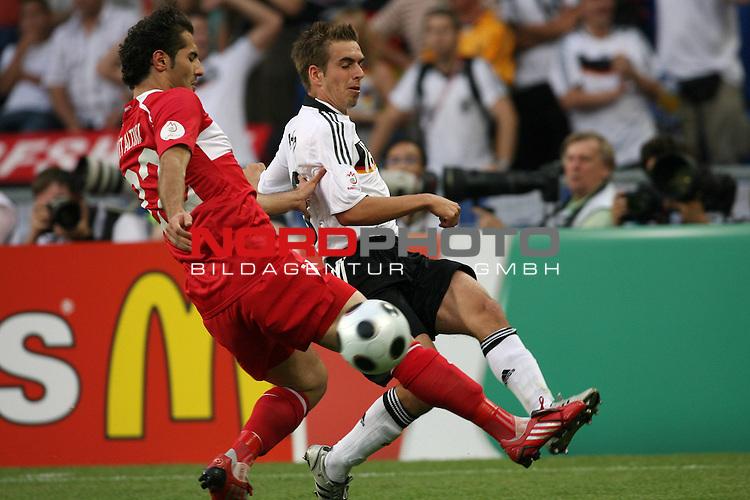 UEFA Euro 2008 Semi-Finals Match 29 Basel - St. Jakob-Park. Deutschland ( GER ) - T&uuml;rkei ( TUR ). <br /> Philipp Lahm ( Germany / Verteidiger / Defender / Bayern Muenchen #16 ) (r) im Kampf um den Ball mit Hamit Altintop ( T&uuml;rkei / Mittelfeldspieler / Midfielder / FC Bayern M&uuml;nchen #22 ) (l).<br /> Foto &copy; nph (  nordphoto  )