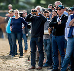 ELMONT, NY - JUNE 08: Bob Baffert watches as Justify exercises on the track on Friday for the 150th running of the Belmont Stakes at Belmont Park on June 8, 2018 in Elmont, New York. (Photo by Eric Patterson/Eclipse Sportswire/Getty Images)