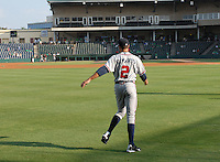 Starting pitcher Sean Gilmartin (2) of the Rome Braves warms up prior to a game against the Greenville Drive on August 16, 2011, at Fluor Field at the West End in Greenville, South Carolina. Gilmartin was Atlanta's first-round pick (No. 28 overall) in the 2011 First-Year Player Draft out of Florida State. Making his second start of the season, he pitched four scoreless innings, giving up one hit and striking out four. (Tom Priddy/Four Seam Images)