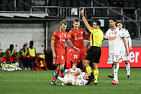 30th July 2020; Bankwest Stadium, Parramatta, New South Wales, Australia; A League Football, Adelaide United versus Perth Glory; Ben Halloran of Adelaide United receives a yellow card for his foul on Neil Kilkenny of Perth Glory