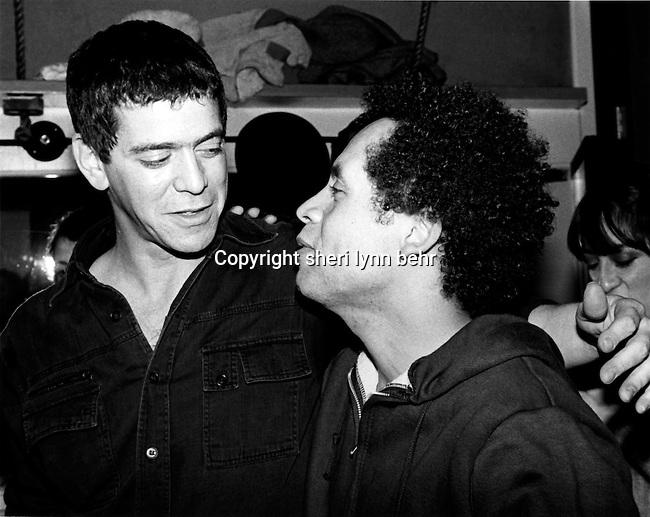 Lou Reed visits Garland Jeffreys backstage in November, 1979. Jeffreys had just given a concert at the Bottom Line.