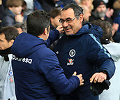 17th March 2019, Goodison Park, Liverpool, England; EPL Premier League Football, Everton versus Chelsea; Chelsea manager Maurizio Sarri hugs Everton manager Marco Silva before the kick off