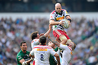 George Robson of Harlequins wins the lineout ball during the Premiership Rugby Round 1 match between London Irish and Harlequins at Twickenham Stadium on Saturday 6th September 2014 (Photo by Rob Munro)