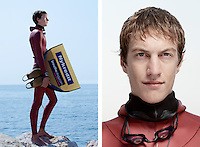 Rune Hallum Sørensen, freediver, poses for the photographer at the A.I.D.A. Freediving World Championships, Villefranche-sur-Mer, France, 11 September 2012. In 2009, Rune was the youngest freediver in the world to ever swim a distance further than 200m on a single breath (dynamic apnea). <br />