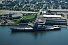 Aerial photograph of the USS New Jersey in Camden.