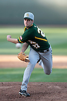 Doug Ashby #27 of the Baylor Bears pitches against the UCLA Bruins at Jackie Robinson Stadium on February 25, 2012 in Los Angeles,California. UCLA defeated Baylor 9-3.(Larry Goren/Four Seam Images)