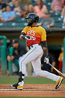 Jo Adell (26) of the Salt Lake Bees slaps his first Triple-A hit against the Oklahoma City Dodgers at Smith's Ballpark on August 1, 2019 in Salt Lake City, Utah. The Bees defeated the Dodgers 14-4. (Stephen Smith/Four Seam Images)