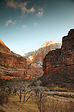 USA, Utah, Springdale, Zion National Park, Big Bend looking towards the Great White Throne, Virgin River