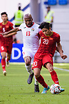 Phan Van Duc of Vietnam (R) fights for the ball with Khalil Baniateyah of Jordan (L) during the AFC Asian Cup UAE 2019 Round of 16 match between Jordan (JOR) and Vietnam (VIE) at Al Maktoum Stadium on 20 January 2019 in Dubai, United Arab Emirates. Photo by Marcio Rodrigo Machado / Power Sport Images