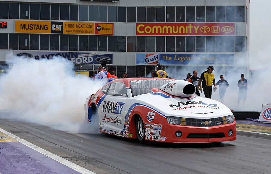 Apr. 28, 2013; Baytown, TX, USA: NHRA pro stock driver Greg Stanfield during the Spring Nationals at Royal Purple Raceway. Mandatory Credit: Mark J. Rebilas-