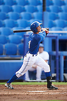 GCL Blue Jays second baseman Kevin Vicuna (1) at bat during the first game of a doubleheader against the GCL Phillies on August 15, 2016 at Florida Auto Exchange Stadium in Dunedin, Florida.  GCL Phillies defeated the GCL Blue Jays 7-5 in a continuation of a game originally started on July 30th.  (Mike Janes/Four Seam Images)