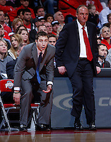 Ohio State Buckeyes assistand coach Greg Paulus (left) and head coach Thad Matta watch a shot fall during Friday's NCAA Division I basketball game against the Louisiana-Monroe Warhawks at Value City Arena in Columbus on December 27, 2013. Ohio State won the game 71-31. (Barbara J. Perenic/The Columbus Dispatch)