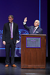 High Point University President Dr. Nido Qubein and Athletic Director Dan Hauser address the crowd at the Hayworth Fine Arts Center on the campus of High Point University on March 27, 2018 in High Point, North Carolina.  (Brian Westerholt/Sports On Film)