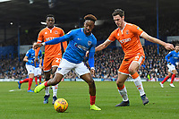 Jamal Lowe of Portsmouth holds off the challenge of Ben Heneghan of Blackpool during Portsmouth vs Blackpool, Sky Bet EFL League 1 Football at Fratton Park on 12th January 2019