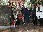 Deputy German ambassador to ireland Peter Zingraf plants a tree at the memorial for Bettina Poeschel at Donore. Photo: Colin Bell/pressphotos.ie