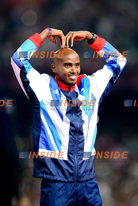Mohamed Farah (gbr) - podium du 5000m hommes .Olimpiadi Londra 2012.London 2012 Olympic Games.foto Insidefoto - Italy ONLY