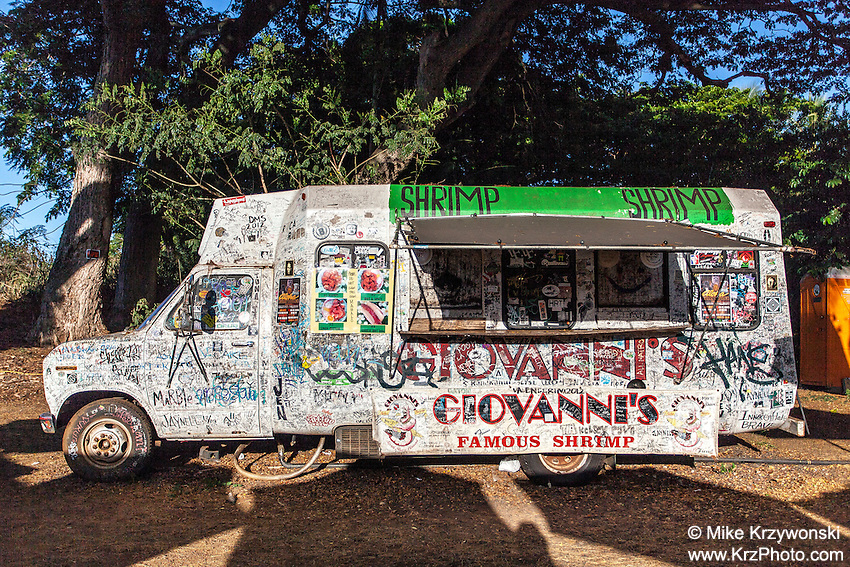 Giovanni's famous shrimp truck in Haleiwa, Oahu, Hawaii