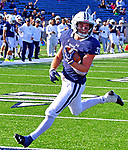 October 26th 2019: Zane Dudek of Yale [33] gained 97 yards on the day along with three TD's as the Bulldogs up their record to 5-1 defeating the Quakers of Penn 46-41.  The Ivy League match up was at the Yale bowl in New Haven, Connecticut.  Dan Heary/ESW/CSM