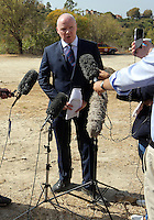 Pictured: Detective Inspector Jon Cousins of South Yorkshire Police reads a statement to the media at the end of the search at the farmhouse site where Ben Needham disappeared from in Kos, Greece. Monday 17 October 2016<br /> Re: The search for missing Ben Needham led by South Yorkshire Police has concluded on the Greek island of Kos.<br /> Ben, from Sheffield, was 21 months old when he disappeared on 24 July 1991 during a family holiday.<br /> Digging took place around the farmhouse where Ben Needham was last seen and at a new site after a fresh line of inquiry suggested he could have been crushed by a digger.