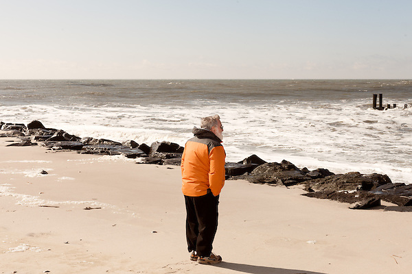 February 27, 2013. Cape May, New Jersey. Coastal geologist Orrin Pilkey.. Tracing the path of Hurricane Sandy, which wrecked havoc on the northeastern seaboard from October 25-31, 2012. The storm caused flooding and caused an estimated 60 billion dollars worth of damage to affected areas.