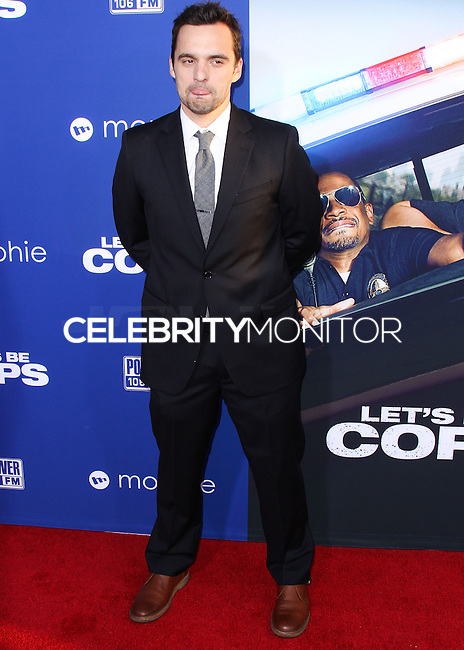 "HOLLYWOOD, LOS ANGELES, CA, USA - AUGUST 07: Jake Johnson at the Los Angeles Premiere Of 20th Century Fox's ""Let's Be Cops"" held at ArcLight Cinemas Cinerama Dome on August 7, 2014 in Hollywood, Los Angeles, California, United States. (Photo by Xavier Collin/Celebrity Monitor)"