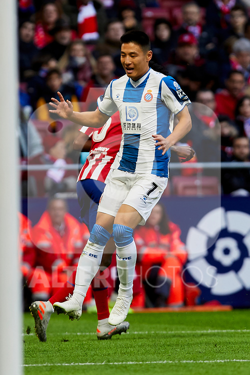 Wu Lei of RCD Espanyol during La Liga match between Atletico de Madrid and RCD Espanyol at Wanda Metropolitano Stadium in Madrid, Spain. November 10, 2019. (ALTERPHOTOS/A. Perez Meca)