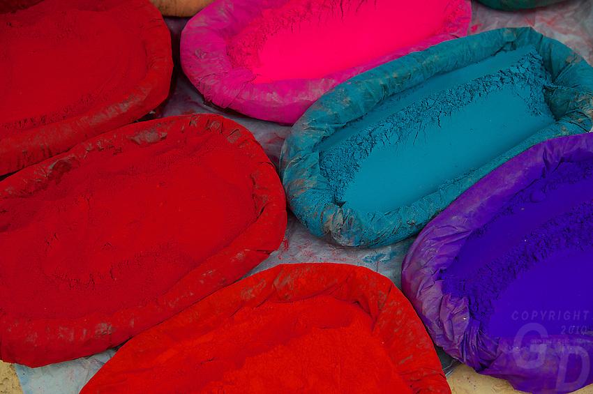 Ceremonial color Powder used by Sadhus Dakshinkall Bungamati, Khokana Animal sacrifice Temple, Kathmandu, Nepal