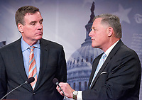 United States Senator Richard Burr (Republican of North Carolina), Chairman, US Senate Select Committee on Intelligence, right, and US Senator Mark Warner (Democrat of Virginia), Vice Chairman, US Senate Select Committee on Intelligence, left, hold a joint press conference in the US Capitol to discuss the upcoming committee hearings on Russian intelligence activities in the US and around the world on Wednesday, March 29, 2017. Photo Credit: Ron Sachs/CNP/AdMedia