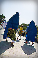 The full Afghan chadri (otherwise known as burqa) covers the wearer's entire face except for a small region about the eyes, which is covered by a concealing net or grille.<br />
