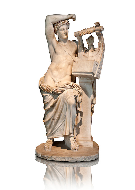 The God Apollo playing the Cithara ( Apollo Citharaodos) a 2nd century marble Roman sculpture from Miletus (Balat, Soke) Turkey. Istanbul Archaeology Museum, Inv 2000T Cat. Mendel 114.