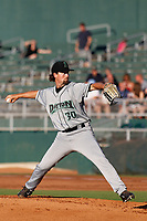 Dayton Dragons pitcher Patrick McGuff (30) delivers a pitch  during a game against the Lansing Lugnuts at Cooley Law School Stadium on August 10, 2018 in Lansing, Michigan . Lansing defeated Dayton 11-4.  (Robert Gurganus/Four Seam Images)