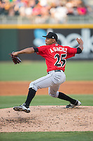Indianapolis Indians starting pitcher Angel Sanchez (25) in action against the Charlotte Knights at BB&T BallPark on June 20, 2015 in Charlotte, North Carolina.  The Knights defeated the Indians 6-5 in 12 innings.  (Brian Westerholt/Four Seam Images)
