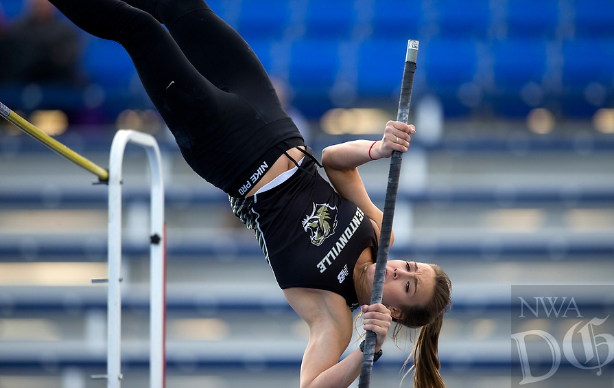 NWA Democrat-Gazette/JASON IVESTER<br /> Bentonville senior Isabel Neal competes in the pole vault Friday, March 10, 2017, during the Whitey Smith Relays at Rogers High School.