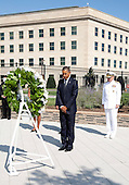 United States President Barack Obama lays a wreath during a remembrance ceremony at the Pentagon in Washington, DC, on Sunday, September 11, 2011. .Credit: Joshua Roberts / Pool via CNP