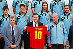 Spanish national football team  David Jimenez Silva, Cesc Fabregas, Sergio Ramos, Juan Mata, the President of Spanish Football Federation Angel Maria Villar, the Primer Minister of Spain Mariano Rajoy and the coach Vicente Del Bosque during official photo session in the Las Rozas's Football City .June 1,2012.(ALTERPHOTOS/Acero)