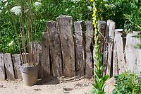 Sandarium im Garten, am Rand mit Totholzhaufen und Steinhaufen als zusätzliche Nisthilfen, Unterschlupfmöglichkeit für Tiere. Sandarium, Sand, Sandfläche, Sandhaufen im Garten, Naturgarten, Nisthilfe für Wildbienen und solitäre Wespen, Lebensraum für Eidechsen, Eidechse. Soll verschiedenen Insekten als Unterschlupf, Nistplatz, und Nahrungsquelle dienen. Mehr als die Hälfte der Wildbienenarten, welche Nester bauen, nisten im Erdboden. Wildbienen-Nisthilfen, Wildbienen-Nisthilfe selbermachen, selber machen, Wildbienenhotel, Insektenhotel, Wildbienen-Hotel, Insekten-Hotel, Eichenspaltpfähle mit Bohrlöchern, Eichenspaltpfahl, Holz, Löcher mit verschiedenen Durchmesser, Wildbienen-Nisthilfe aus Holz, Längsholz, Hartholz, Wildbienen-Nisthilfe aus markhaltigen Stängel, Stängel, Pflanzenstängel, Stengel wie zum Beispiel Himbeere, Holunder, Beifuß, die etwa 1m langen, markhaltigen Stängel werden senkrecht in einen mit Sand befüllten Blumentopf, Kübel gesteckt