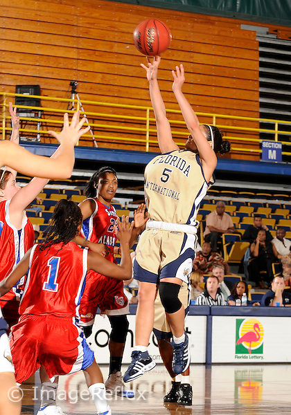 Florida International University women's basketball guard Michelle Gonzalez (5) shoots against the University of South Alabama which won the game 65-47 on December 20, 2008 at Miami, Florida. .